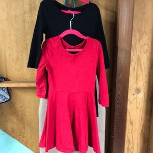 Pair of Skater Dresses— Red & Black Solids S 5/6